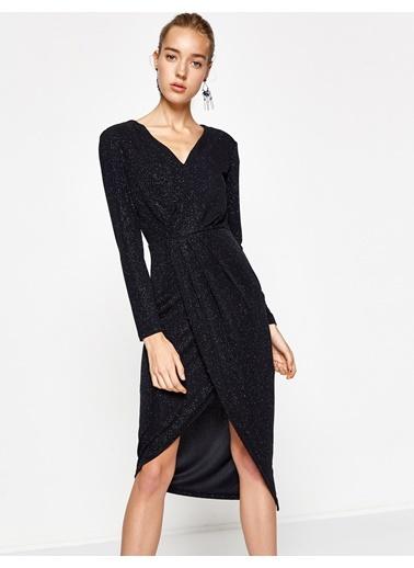 İşlemeli V Yaka Şifon Elbise-Koton
